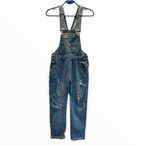 Jeans denim overalls distressed size small